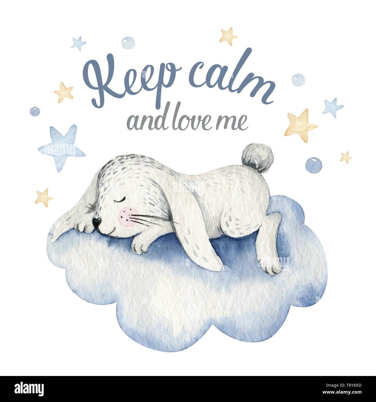 Soñar Lindo Conejo De Dibujos Animados Dibujados A Mano