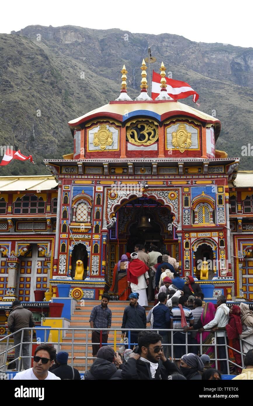 Lugar Santo Señor Vishnu Badrinath Templo 2019, Badrinath ciudad, distrito de Chamoli, Uttrakhand, India, Asia Foto de stock