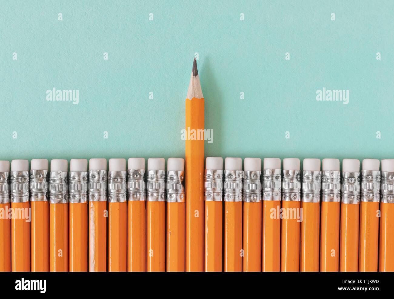 Fila de lápices de color naranja con un lápiz afilado. Liderazgo / pie de una muchedumbre concepto con espacio de copia. Foto de stock