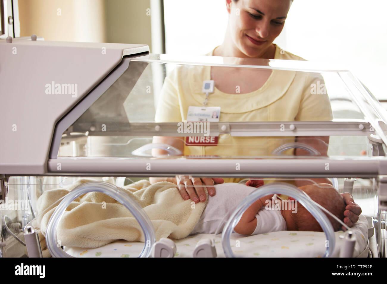 Enfermera tocando baby girl acostado en la incubadora en el hospital Foto de stock