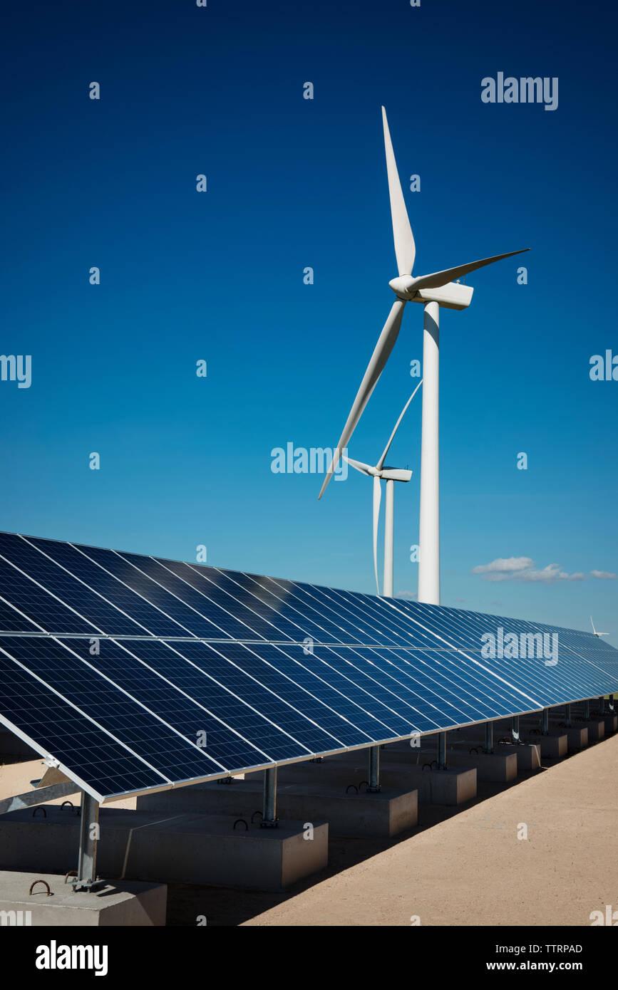 Paneles solares en fábrica por molinos de viento contra el cielo azul Imagen De Stock