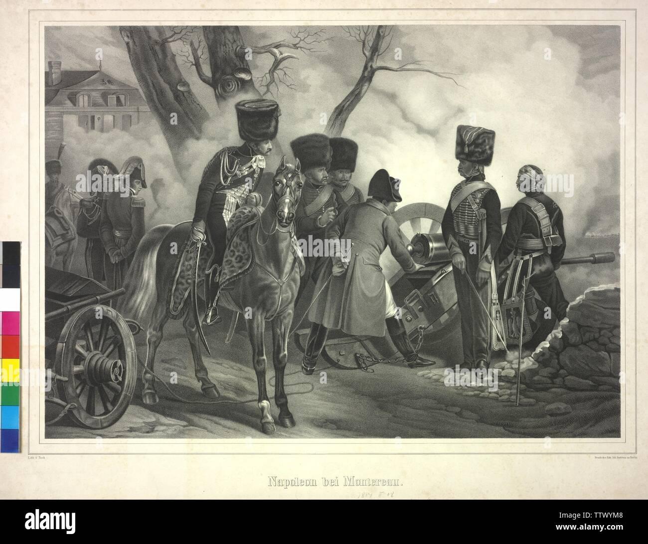 Napoleón en Montereau, 18.2.1814: Napoleón I Bonaparte, emperador de los franceses en la batalla de Montereau en una pistola, litografía en agosto? Beck, Additional-Rights-Clearance-Info-Not-Available Foto de stock