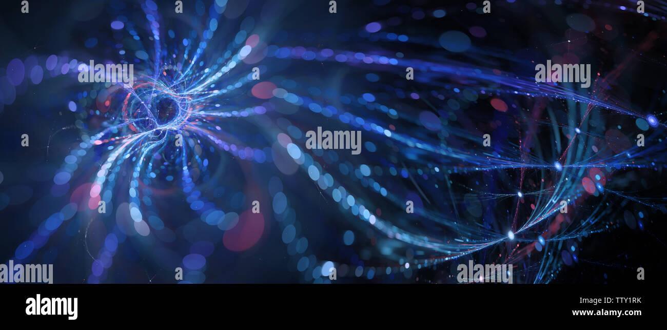 Brillante azul conectado innovó tecnologías futuristas, gran cantidad de datos, resumen antecedentes generados por ordenador, 3D rendering Foto de stock