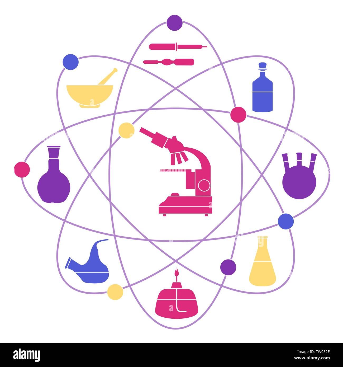 Ilustración Vectorial Con Estructura Atómica Frascos De