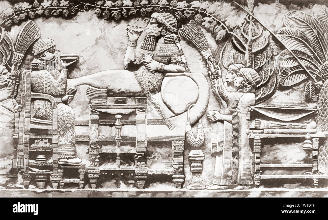 Nabucodonosor II en los jardines colgantes de Babilonia. Nabucodonosor II, rey de Babilonia, c. 605 BC - c. 562 BC. Impresión desde una mirada contemporánea, c.1935. Imagen De Stock