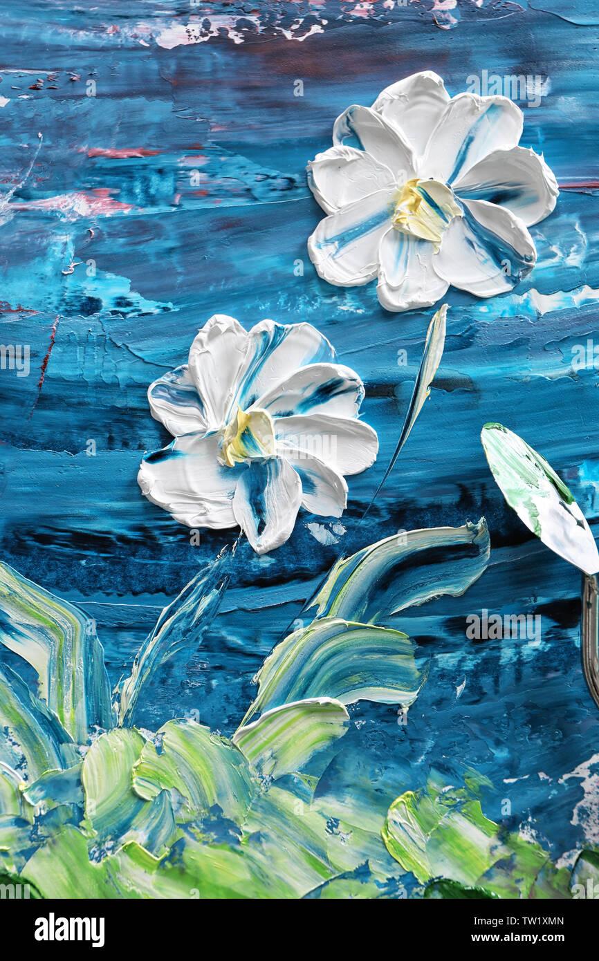 Pintura Al óleo De Hermosas Flores Y Espátula Fotografía De Stock Alamy