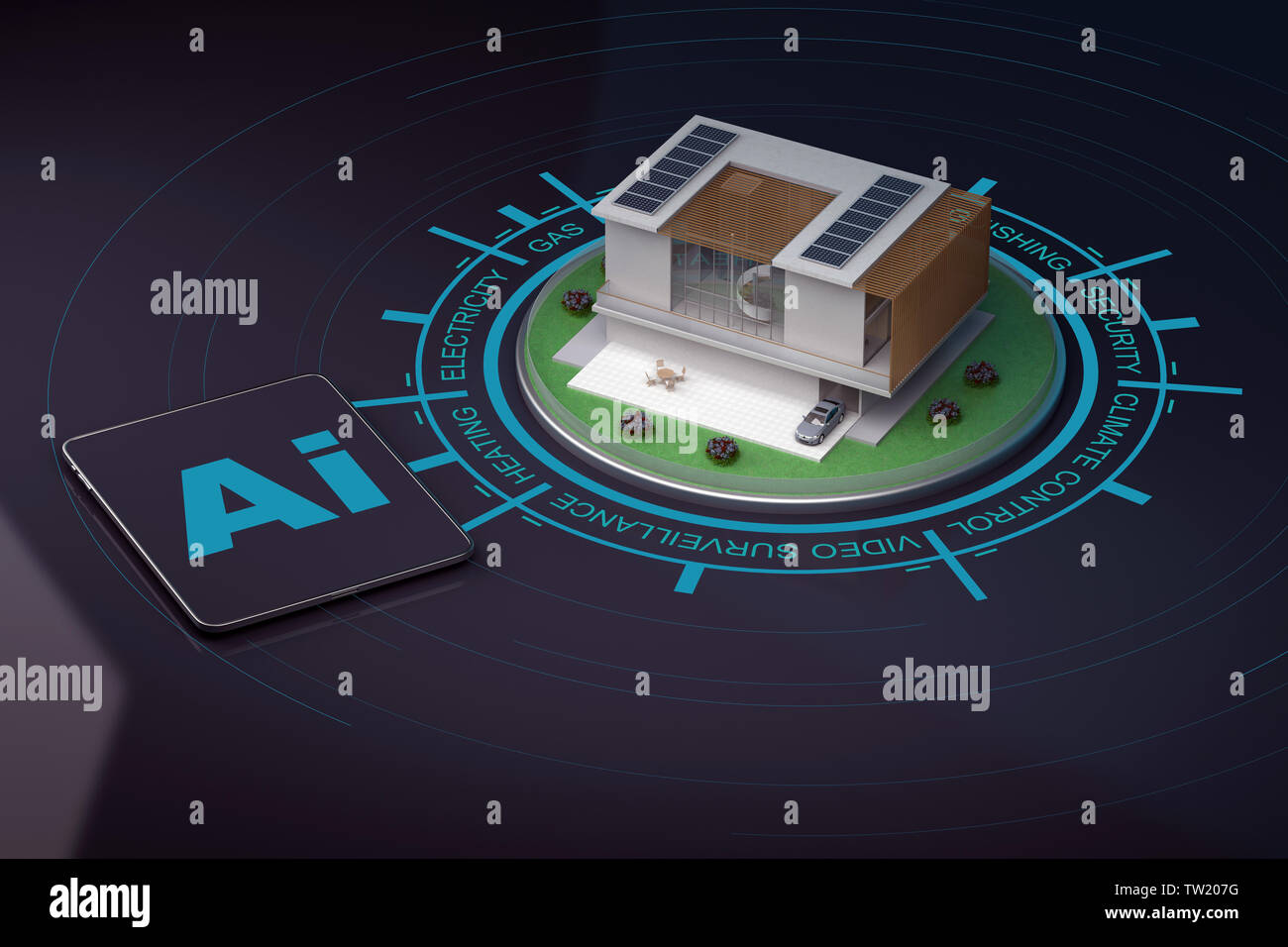 Moderna casa inteligente con la infografía y tableta. 3D rendering Imagen De Stock