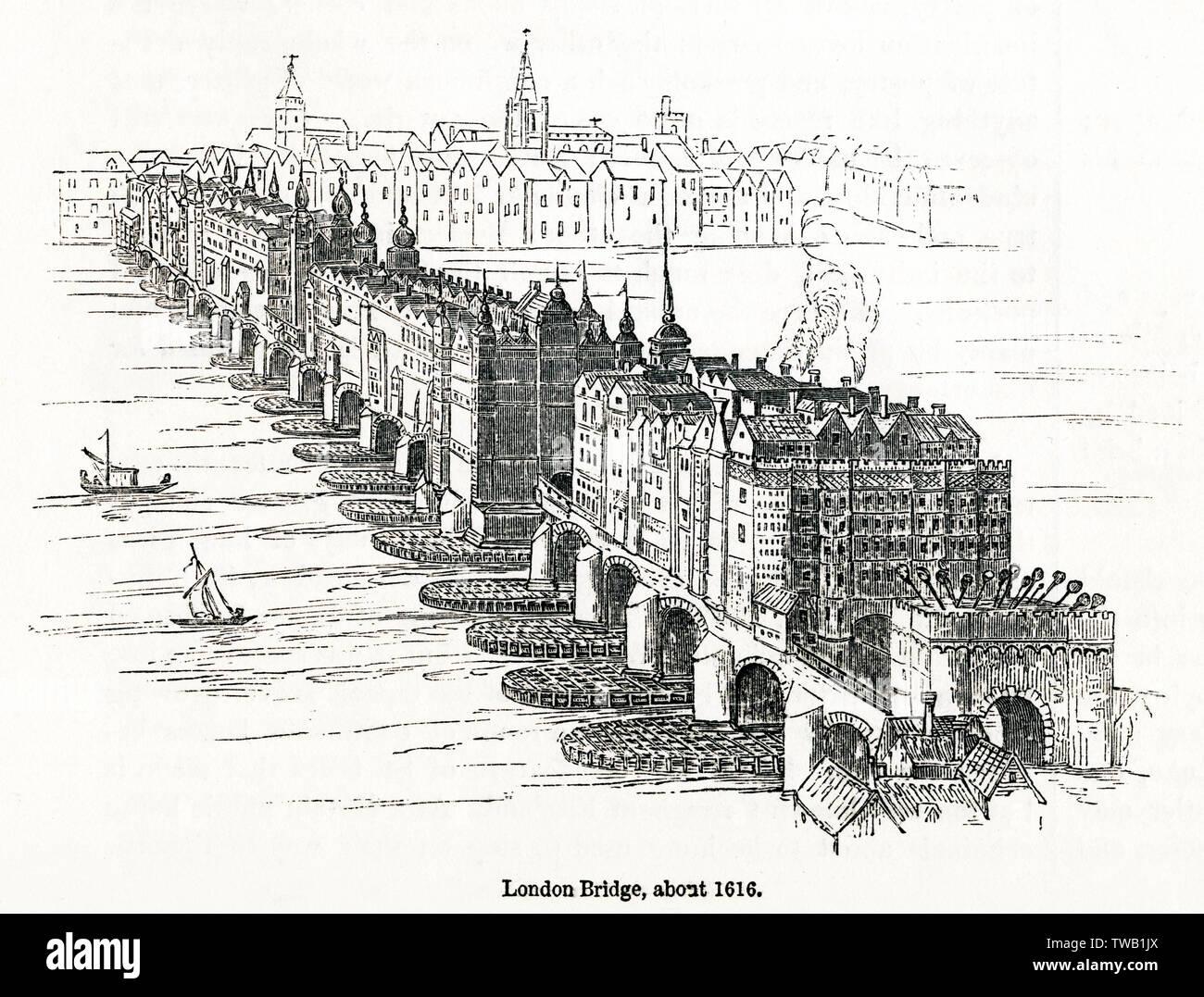 Antiguo puente de Londres, mostrando el Southwark gatehouse adicionadas con cabezas de criminales ejecutados en él. Fecha: circa 1616 Foto de stock