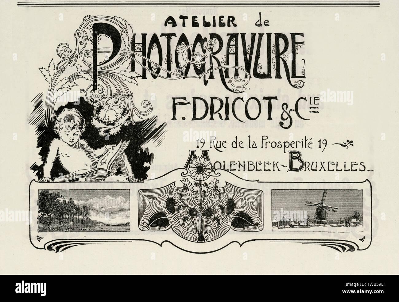 Un anuncio/tarjeta para un fotógrafo, F. Dricot en Molenbeek, Bruselas. Fecha: 1900 Foto de stock