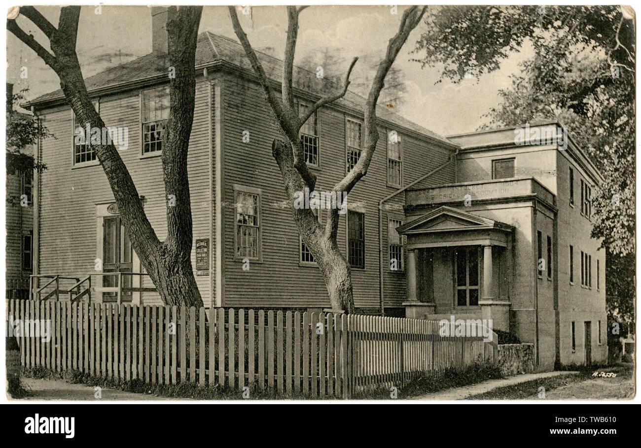 Asociación histórico edificio (antiguamente un Quaker Meeting House), Fair Street, Nantucket, Massachusetts, EE.UU. Fecha: circa 1906 Foto de stock