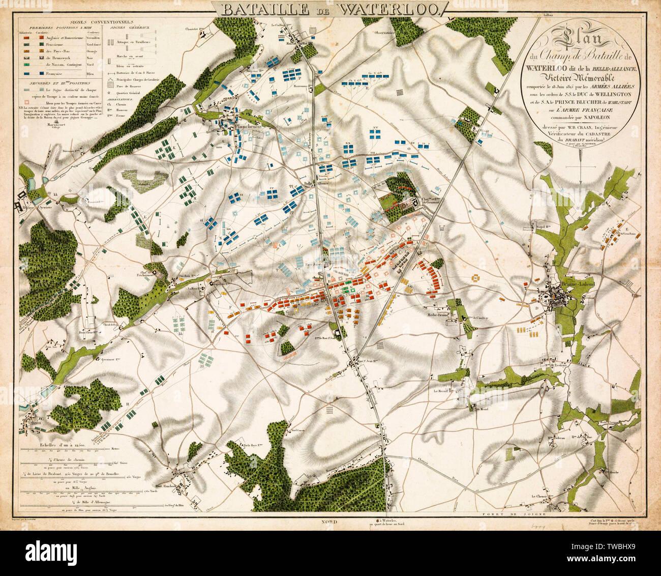Mapa de la batalla de Waterloo, impresión, 1816 Imagen De Stock