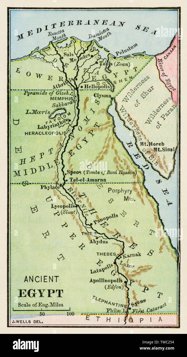Mapa De Egipto Antiguo.Mapa De Egipto Antiguo Litografia De Color Foto Imagen De