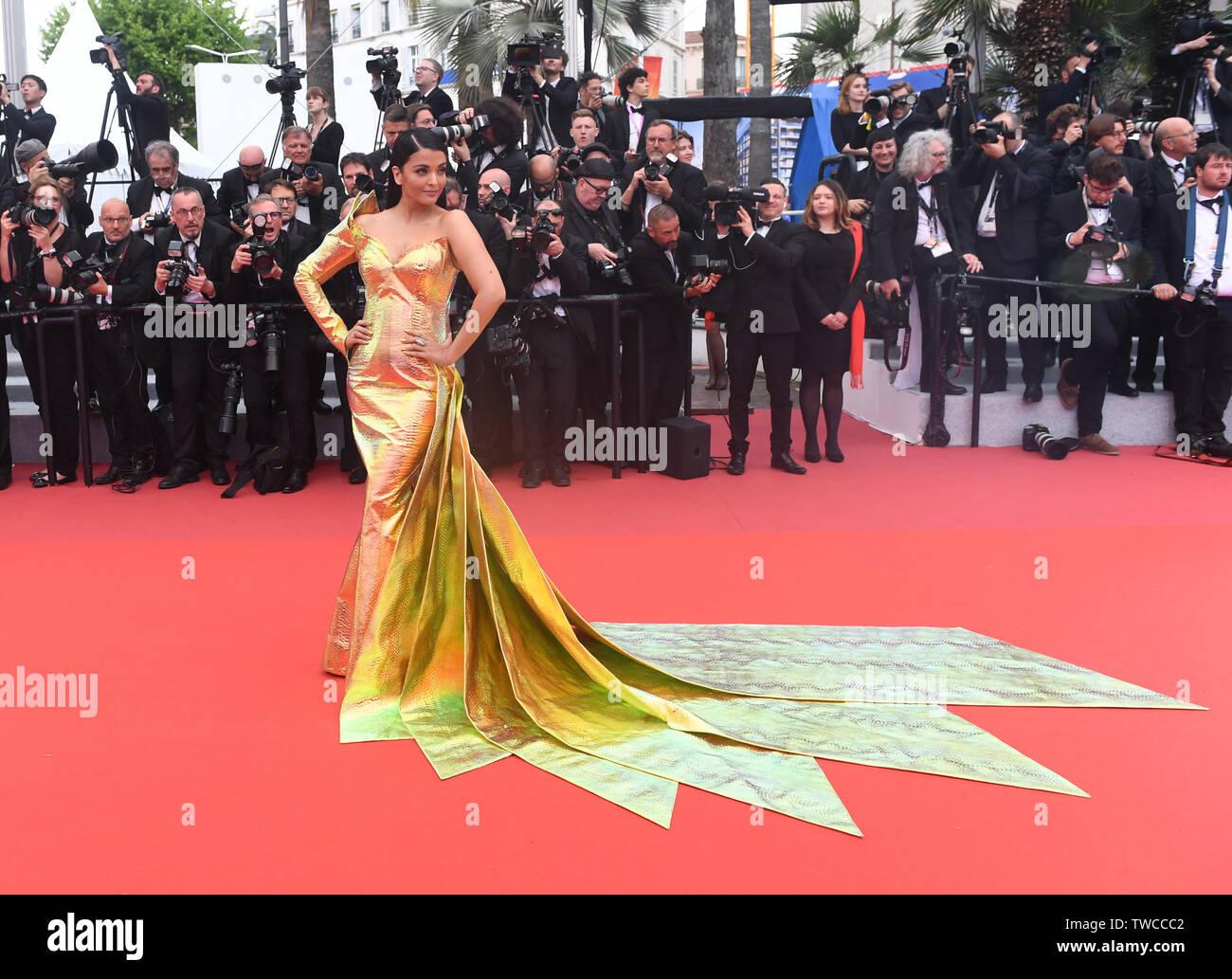 Una vida oculta premiere en el Festival de Cannes con: Aishwarya Rai donde: Cannes, Reino Unido cuando: 19 de mayo de 2019 Crédito: WENN.com Foto de stock