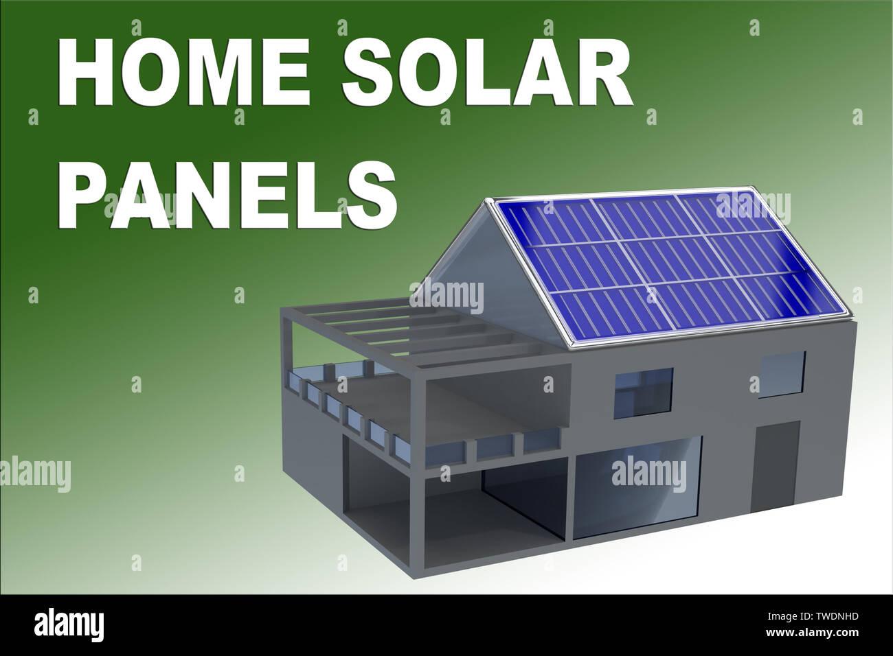 Ilustración 3D de Casa Solar panel título sobre el degradado verde como fondo, junto con un edificio con paneles solares montados en el techo. Imagen De Stock