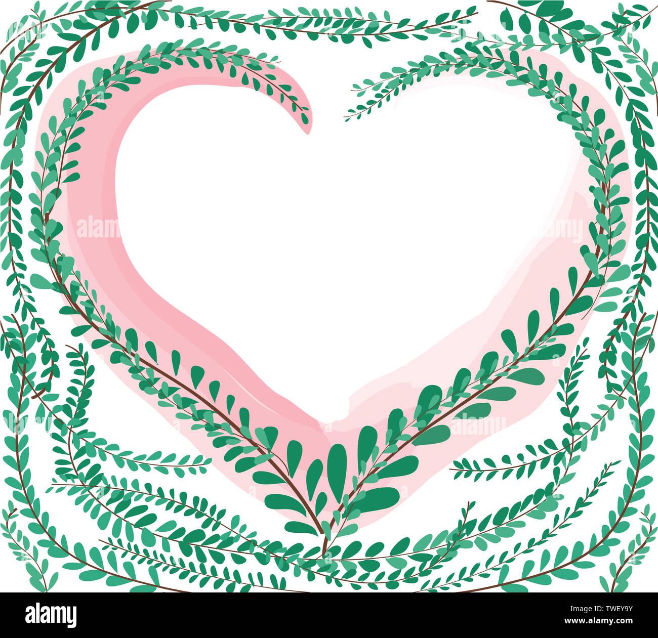 En forma de corazón verde pastel leafs untar los botones , Mexicana antecedentes daisy EPS10 Imagen De Stock