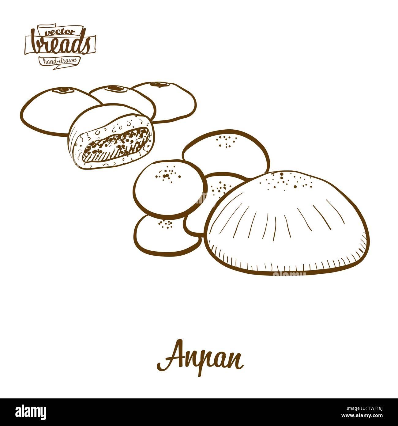Pan Anpan dibujo vectorial. Boceto de alimentos dulces bun, generalmente conocido en Japón. Ilustración de la serie de panadería. Ilustración del Vector