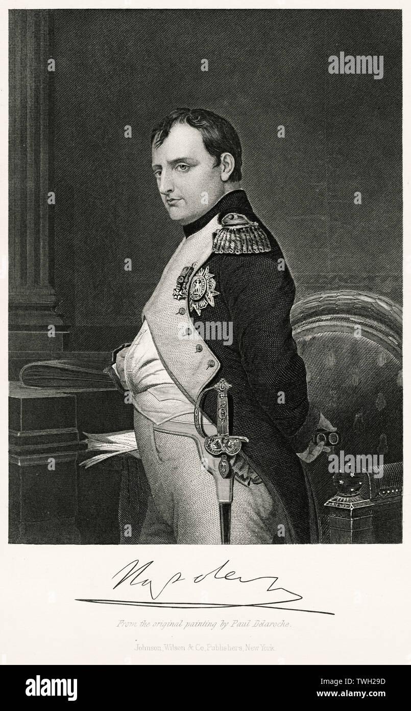 Napoleón Bonaparte (1769-1821), Emperador de Francia Napoleón I 1804-14 y brevemente en 1815, Longitud Three-Quarter retrato, acero grabado, galería de retratos de hombres y mujeres eminentes de Europa y América por Evert A. Duyckinck, publicado por Henry J. Johnson, Johnson, Wilson & Company, Nueva York, 1873. Foto de stock