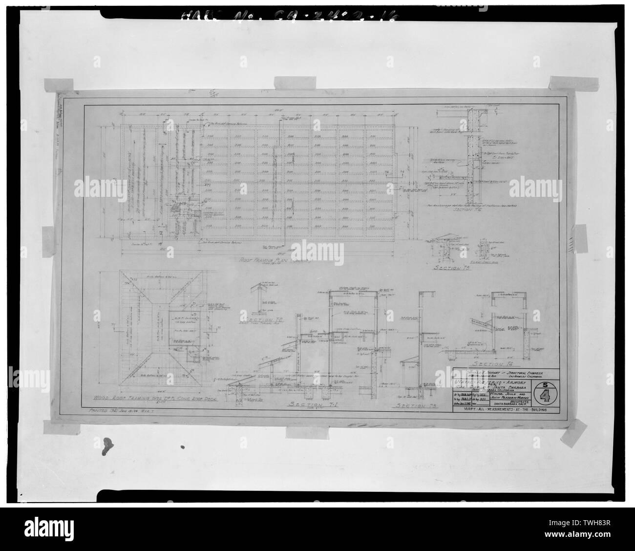 Techo plano de encuadre, Hoja 4 - Reserva Naval Armory, 113 Harbour Way, Santa Bárbara, en el condado de Santa Bárbara, CA. Foto de stock