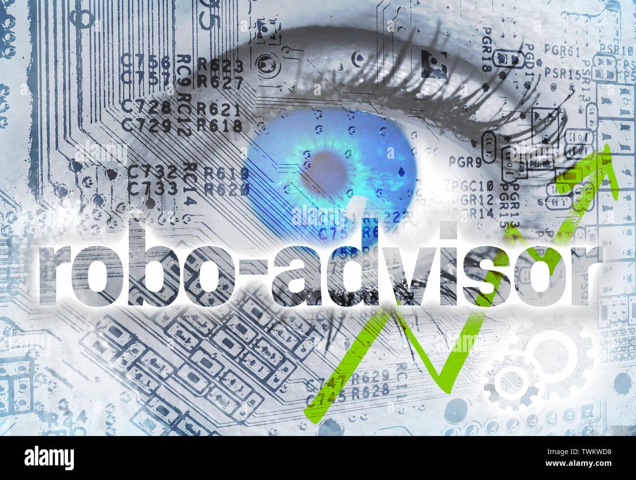 Concepto Robo-Advisor con fondo de ojo. Foto de stock
