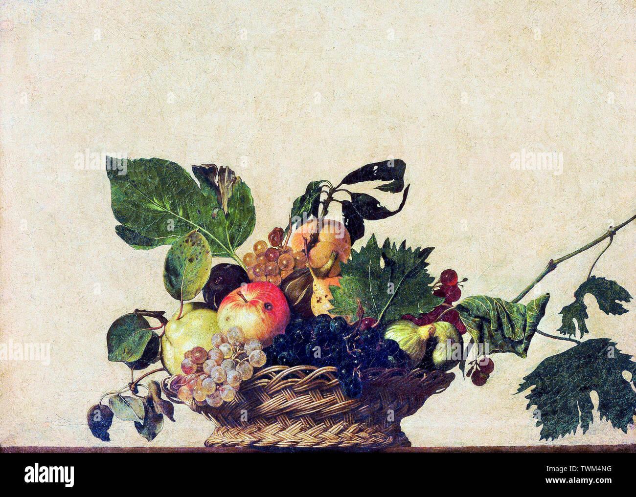 Caravaggio, canasta de frutas, los bodegones pintura, circa 1595 Imagen De Stock