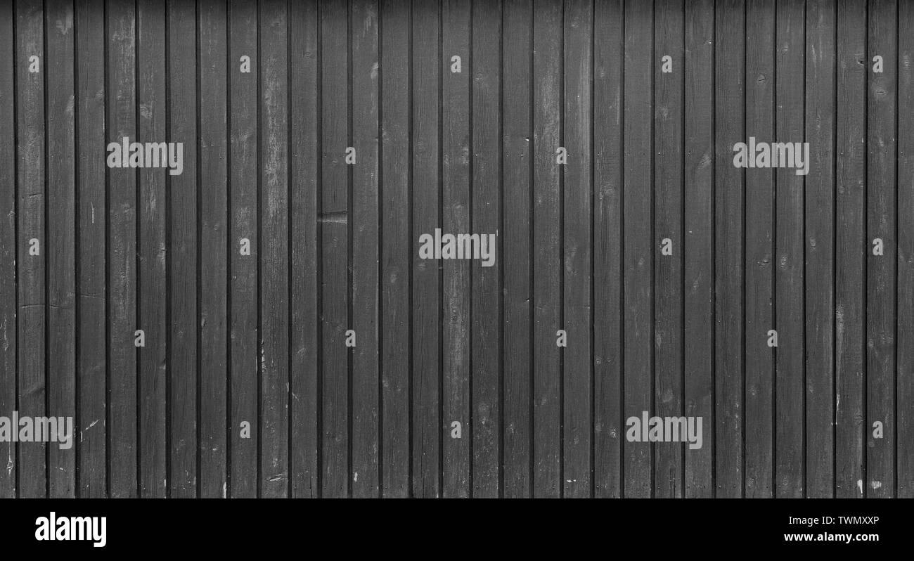 Antecedentes de fotograma completo de alta resolución de una junta de madera desgastada pared o paneles en blanco y negro. Copie el espacio. Imagen De Stock