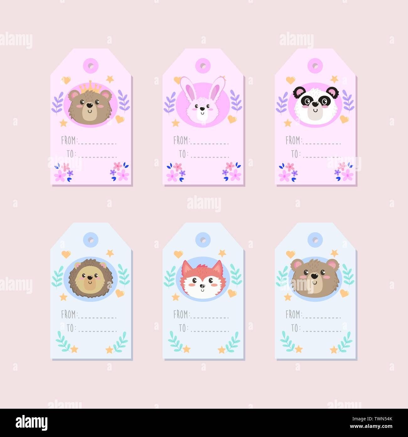 Decoracion De Baby Shower De Animales.Conjunto De Etiquetas Animal Lindo Decoracion Para Baby