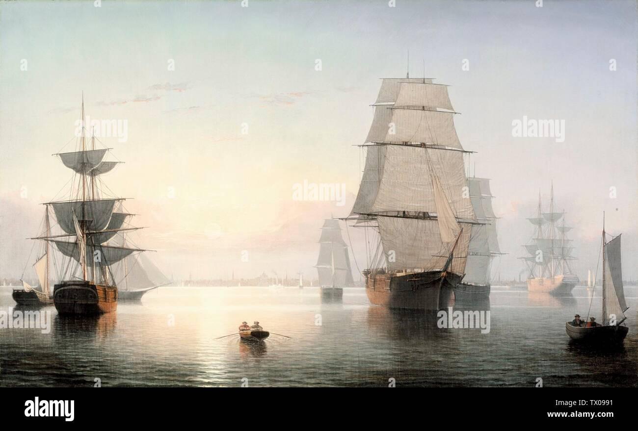 """""""El puerto de Boston, del atardecer; Inglés: Estados Unidos, 1850-1855 pinturas óleo sobre lienzo don de Jo Ann y Julian Ganz, Jr., en honor de la celebración del 25º aniversario del Museo Mexicano (AC1993.229.1) Arte americano; entre 1850 y 1855 fecha QS:P571,+1850-00-00T00:00:00Z/8,P1319,+1850-00-00T00:00:00Z/9,P1326,+1855-00-00T00:00:00Z/9; ' Imagen De Stock"""