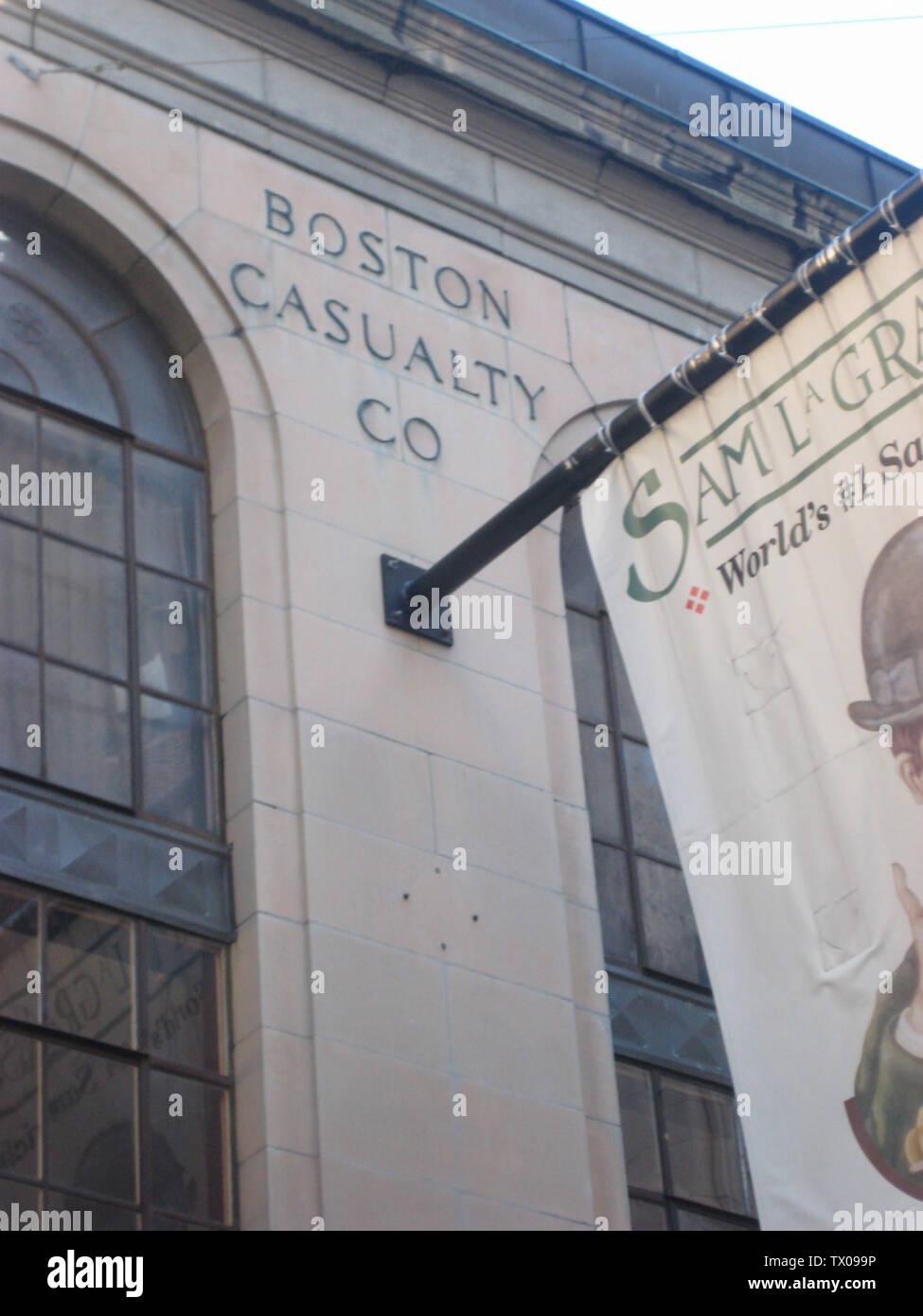 """""""Inglés: Ex en:La sede corporativa del Boston Casualty Company en:Downtown Crossing, en:Boston, Massachusetts, en:Estados Unidos. En 1949 esta empresa fue adquirida por en:Aon Corporation[1]. De octubre de 2007 Foto por John Stephen Dwyer; 1 de marzo de 2008 (fecha de carga original); trasladado desde en.wikipedia a Commons by Undead_warrior.; HouseOfScandal en Wikipedia en inglés; ' Imagen De Stock"""