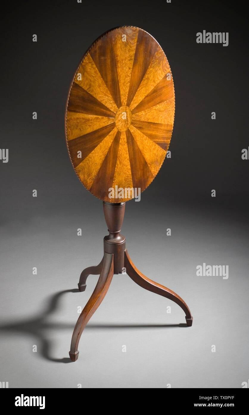 """Candlestand (Imagen 2 de 2); en inglés: Estados Unidos, Massachusetts, Boston, 1790-1800; Iluminación muebles de caoba, abedul, diversos embutidos 42 1/8 x 19 3/8 x 19 1/4 pulg. (107 x 49.21 x 48.9 cm) de regalo de la Sra. Murray Braunfeld (M.2006.51.13) Artes Decorativas y diseño; entre 1790 y 1800 fecha QS:P571,+1500-00-00T00:00:00Z/6,P1319,+1790-00-00T00:00:00Z/9,P1326,+1800-00-00T00:00:00Z/9; ' Imagen De Stock"