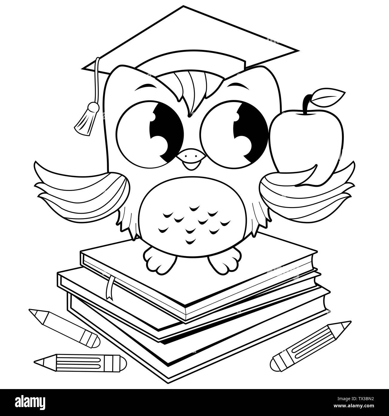 Búho De Dibujos Animados Blanco Y Negro Imágenes De Stock Búho De