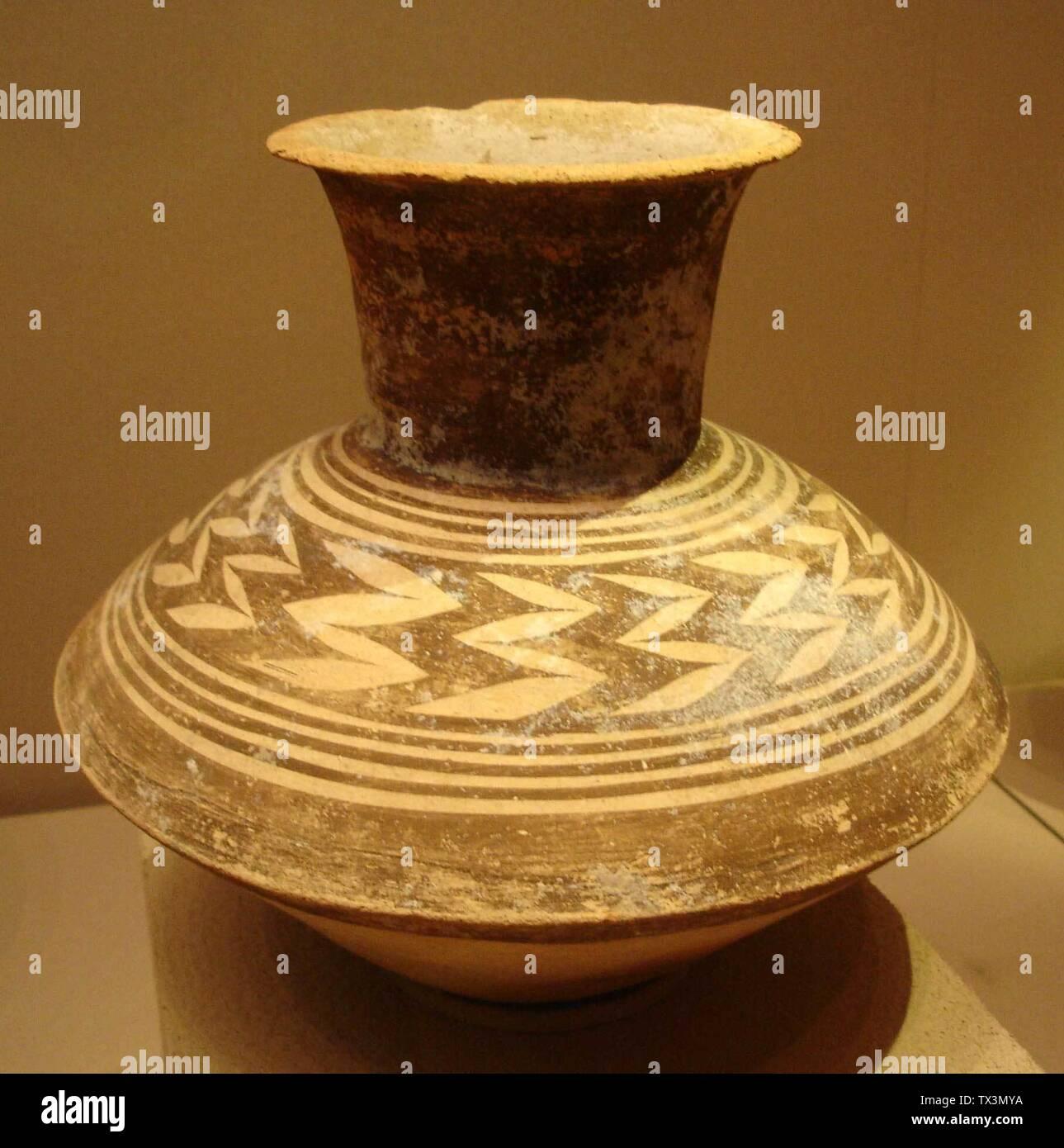 'Equipo mejorado de fotografía de una jarra de cerámica en exhibición en el Museo de Bellas Artes de Boston (elemento número 1986.30), ilustrando friso grupo THG. Según la AMF, es desde el sur de Irak en el período Ubaid Tardío (4500-4000 a.C.).; 12 de marzo de 2006; Wikipedia en inglés; Dmharvey; ' Imagen De Stock