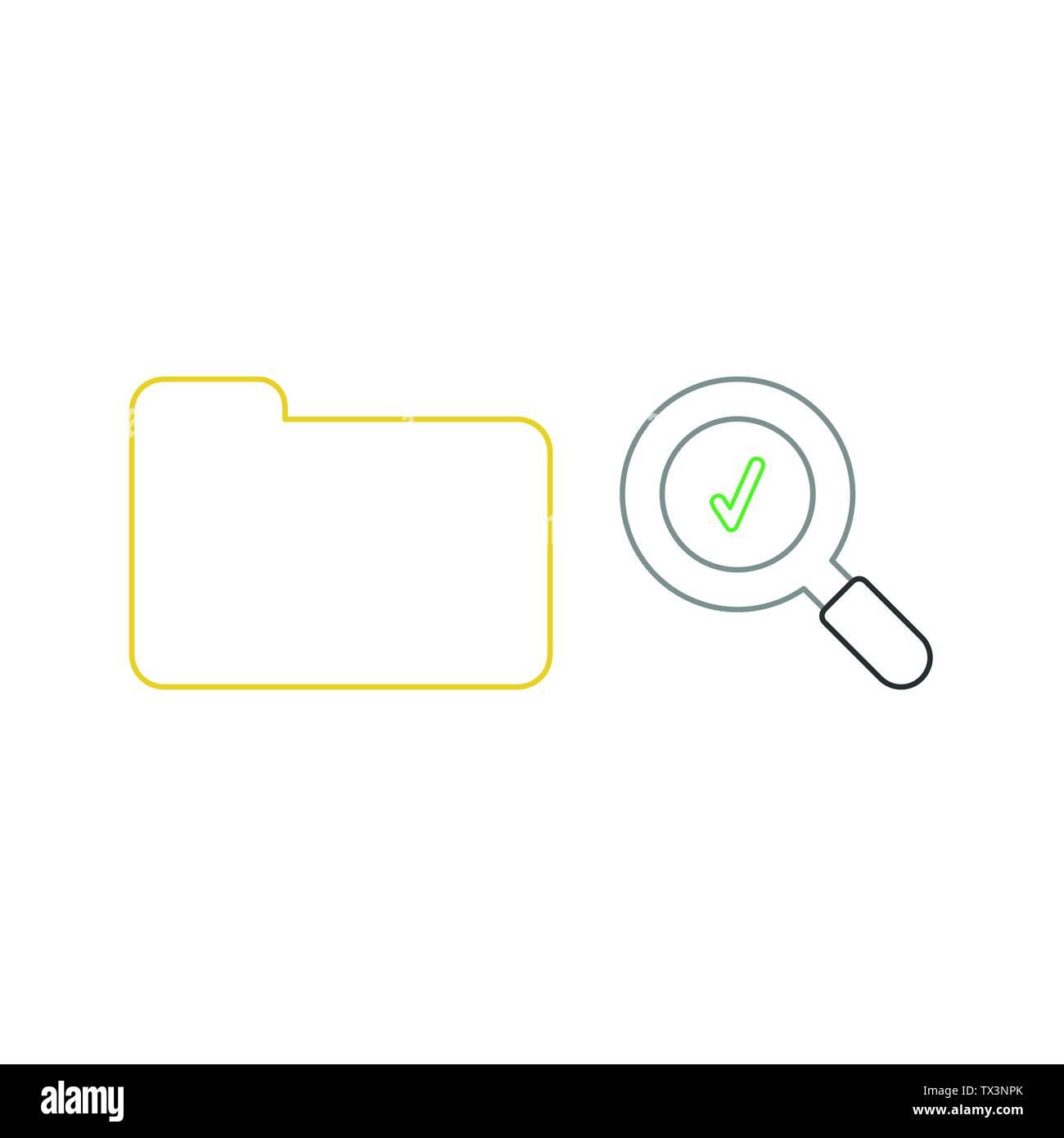 Icono De Vector Concepto De Amarillo Carpeta Cerrada Y Lupa