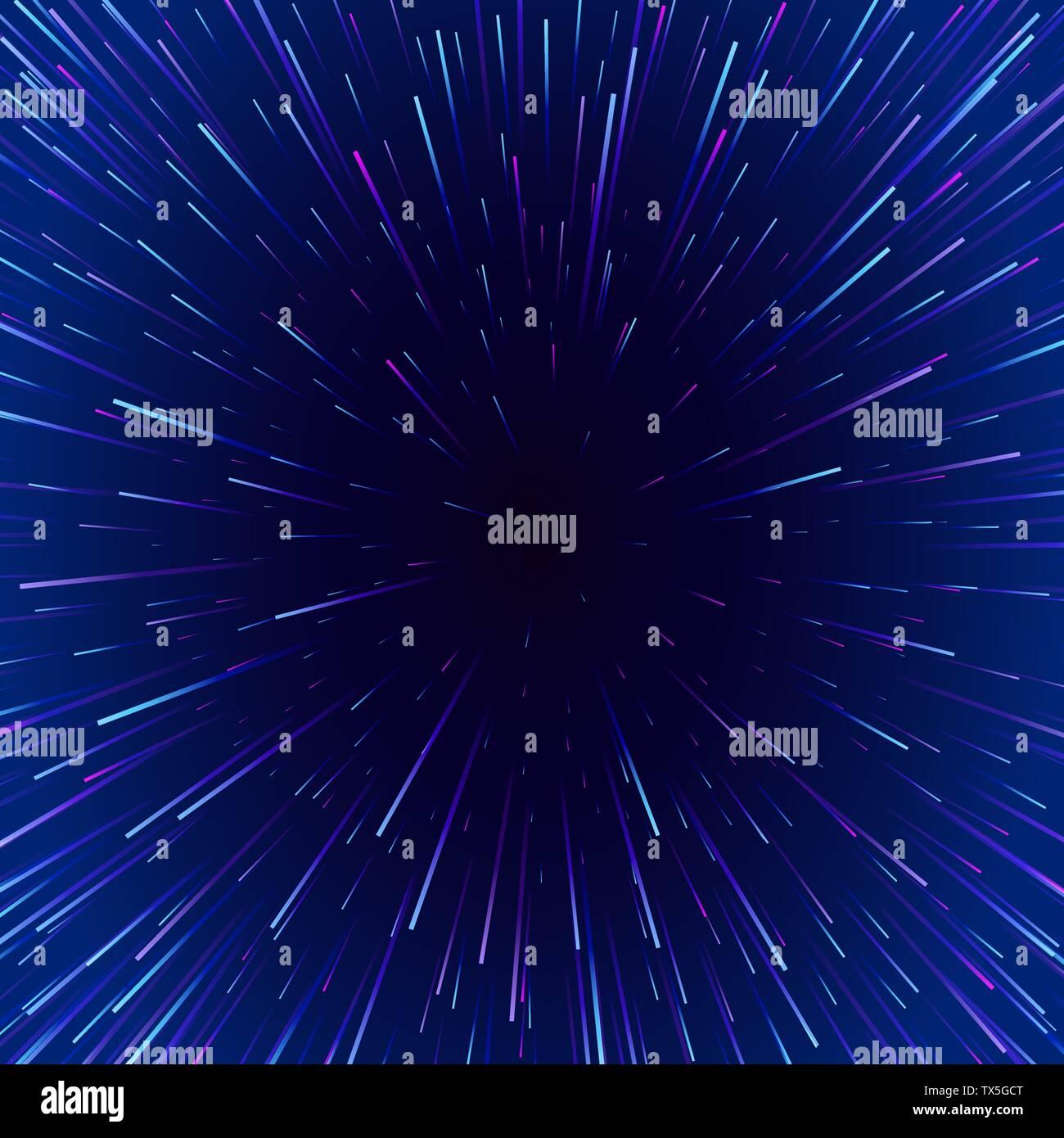 Resumen Antecedentes viajar a través del tiempo y el espacio. Cartel de neón futurista. Música moderna plantilla de título. Estrellas borrosa luz en líneas. Vector Ilustración del Vector