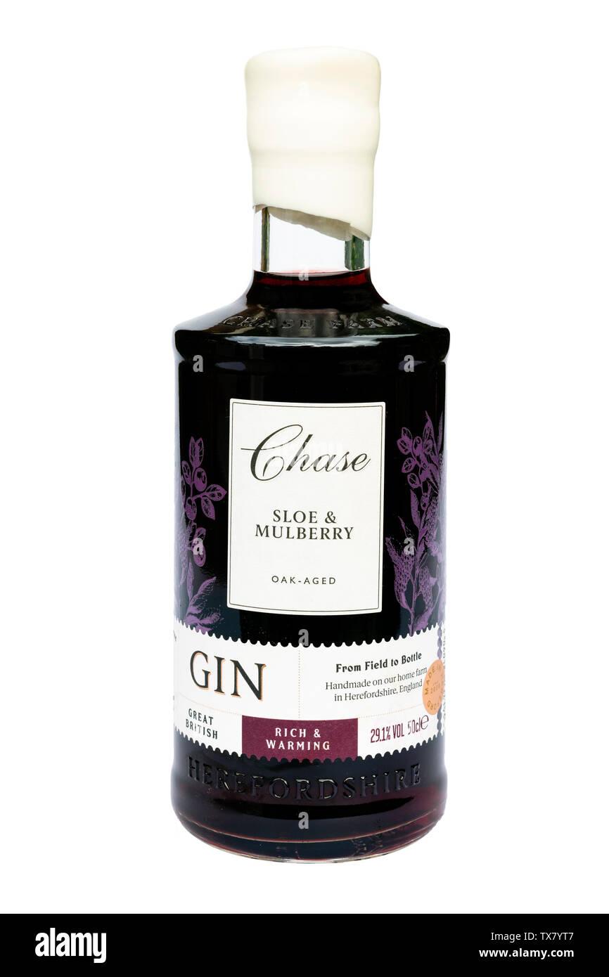 Botella de endrinas, gin, cortadas o aislado en un fondo blanco, Reino Unido. Endrinas y Morera destilería Chase gin de Herefordshire. Foto de stock