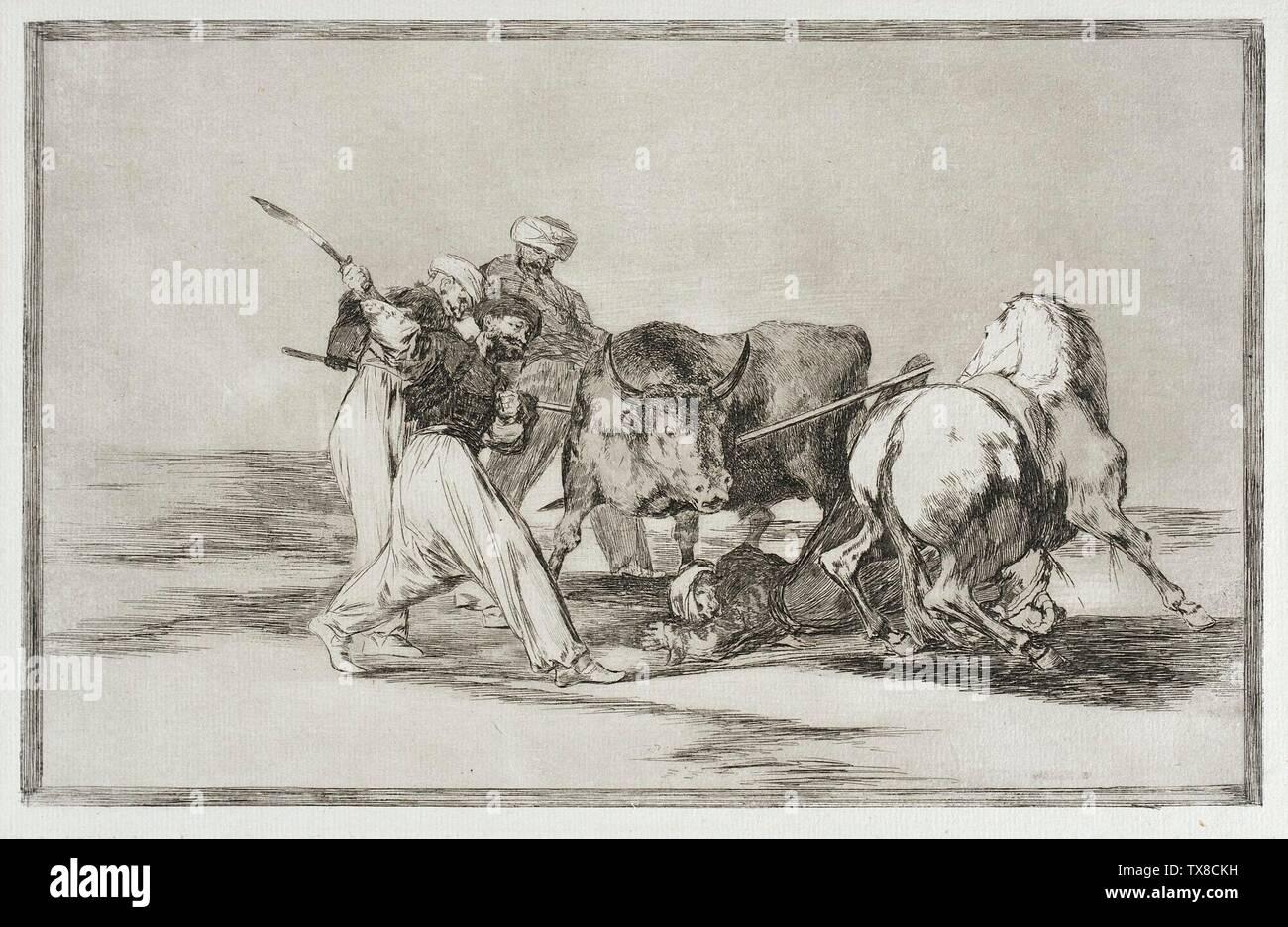 'Los moros lancean un toro en el campo; en inglés: España, circa 1814-1815 Series: Tauromaquia, placa 3 Edición: Primera edición imprime; grabados aguafuerte y aguatinta adquiridos con fondos proporcionados por Mary B. Regan y el Charles Mooshian Memorial Fund (86.10) grabados y dibujos; entre circa 1814 y alrededor de 1815 fecha QS:P571,+1814-00-00T00:00:00Z/8,P1319,+1814-00-00T00:00:00Z/9,P1326,+1815-00-00T00:00:00Z/9,P1480,Q5727902; ' Imagen De Stock