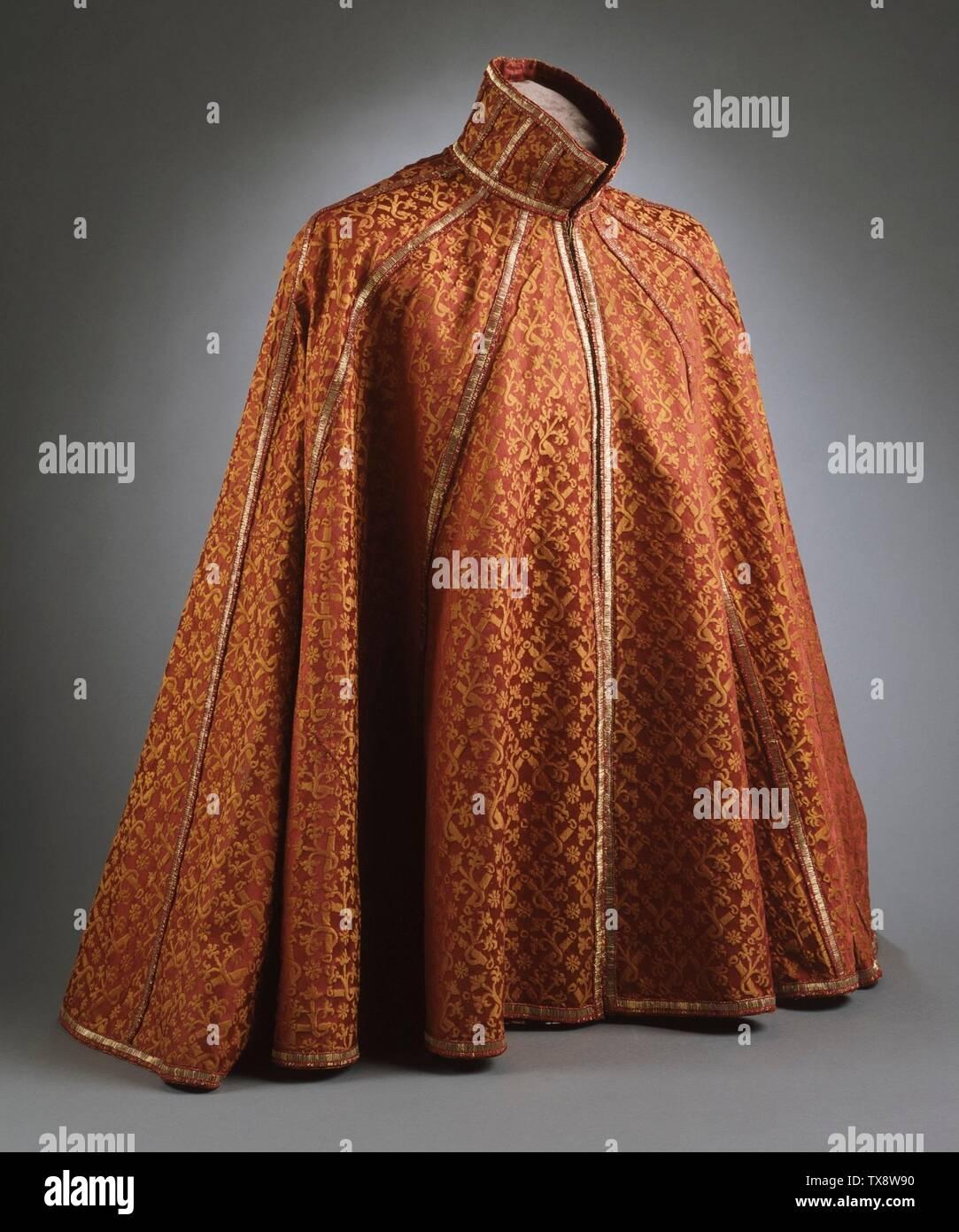 """""""La Cape; en inglés: España, circa 1590-1610; Trajes de abrigo de satén de seda de damasco Consejo disfraces compra Fund (M.83.193.4) Vestuario y Textiles; entre circa 1590 y circa 1610 fecha QS:P571,+1500-00-00T00:00:00Z/6,P1319,+1590-00-00T00:00:00Z/9,P1326,+1610-00-00T00:00:00Z/9,P1480,Q5727902; ' Imagen De Stock"""