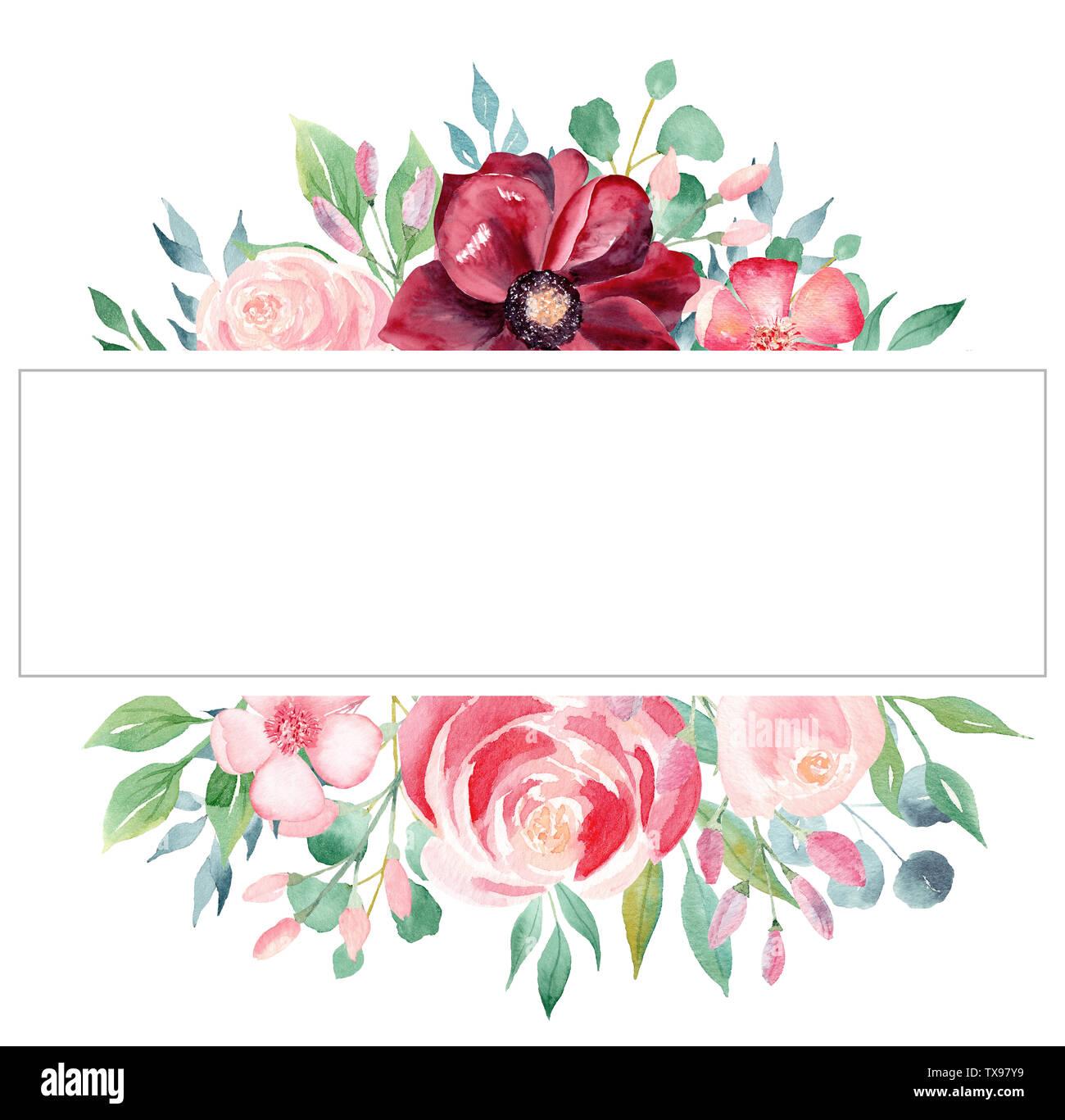 Blossom Acuarela Dibujada A Mano Fotograma Ráster Plantilla
