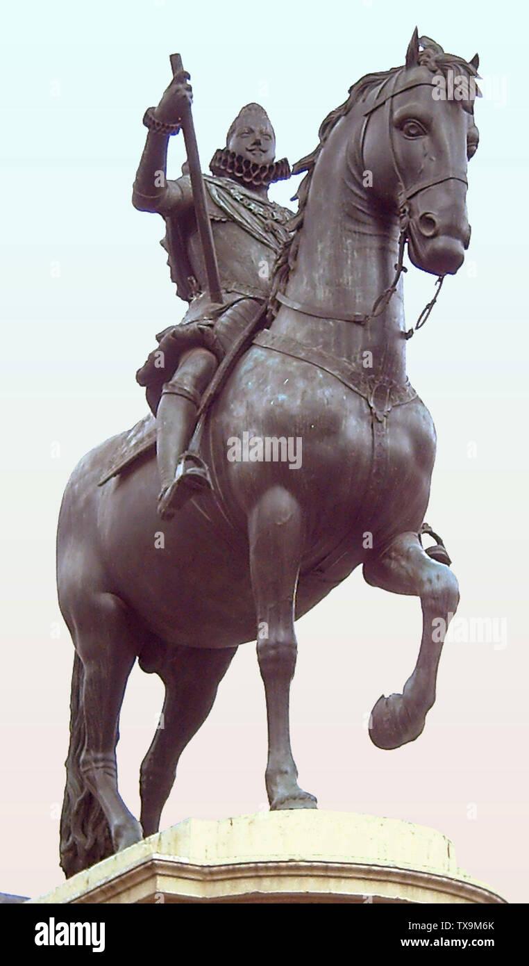 """""""Inglés: estatua ecuestre de Felipe III de España (1578-1621). Iniciado por Giambologna (1529-1608) y acabada en 1616 por Pietro Tacca (1577-1640). Es parte del monumento en la Plaza Mayor de Madrid (España), inaugurado en 1848. Español: Estatua ecuestre de bronce de Felipe III de España (1578-1621). Comenzada por Juan de Bolonia (1529-1608) y acabada en 1616 por Pietro Tacca (1577-1640). Es parte del monumento situado en la Plaza Mayor de Madrid (España) e inaugurado en 1848.; 17 de abril de 2006; el propio trabajo; Luis García (Zaqarbal); ' Imagen De Stock"""