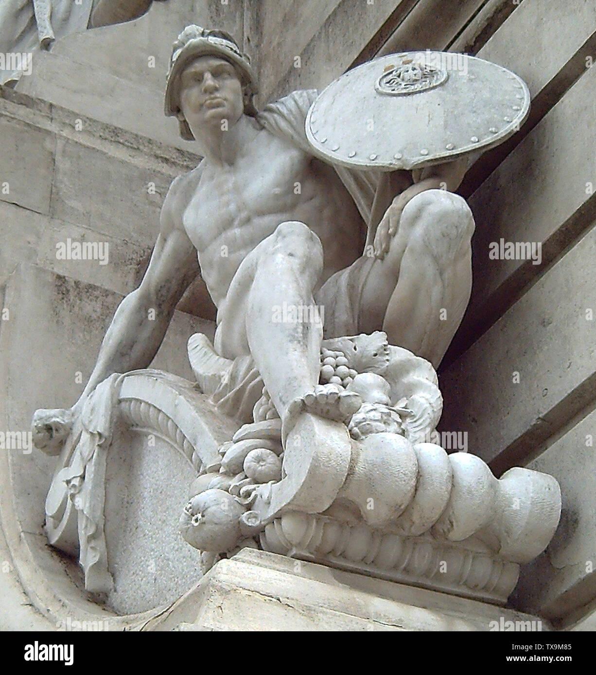 """""""Inglés: Valor Militar. La escultura de piedra por Lorenzo Coullaut (1876-1932). Detalle del monumento a Cervantes (1925-30, 1956-57) en la Plaza de España (Plaza de España) en Madrid (España). Español: Valor Militar. Escultura en piedra realizada por Lorenzo Coullaut (1876-1932). Detalle del monumento a Cervantes (1925-30, 1956-57) de la Plaza de España de Madrid (España); 18 de mayo de 2006; el propio trabajo; Luis García (Zaqarbal); ' Imagen De Stock"""