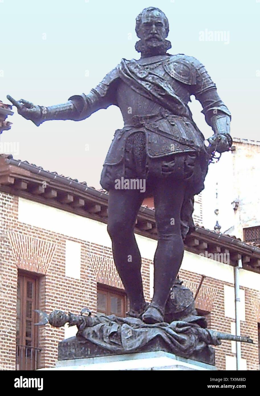 """""""Inglés: estatua de bronce de Álvaro de Bazán (1526-1588) del escultor Mariano Benlliure (1862-1947). 2,20 metros de alto. Es parte del monumento en la Plaza de la Villa (plaza) en Madrid (España), inaugurado en 1891. Español: Estatua de bronce de Álvaro de Bazán (1526-1588) realizada por el escultor Mariano Benlliure (1862-1947). 2,20 metros de altura. Es parte del monumento situado en la Plaza de la Villa de Madrid (España) e inaugurado en 1891; el 8 de mayo de 2006; el propio trabajo; fotografía: Luis García (Zaqarbal); ' Imagen De Stock"""
