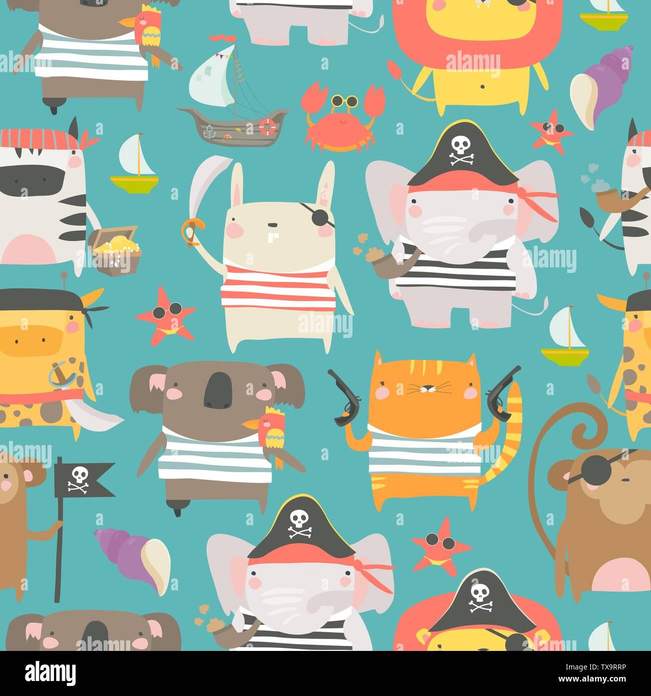 Patrón sin fisuras con animalitos con pirata y atributos de estilo marinero Imagen De Stock