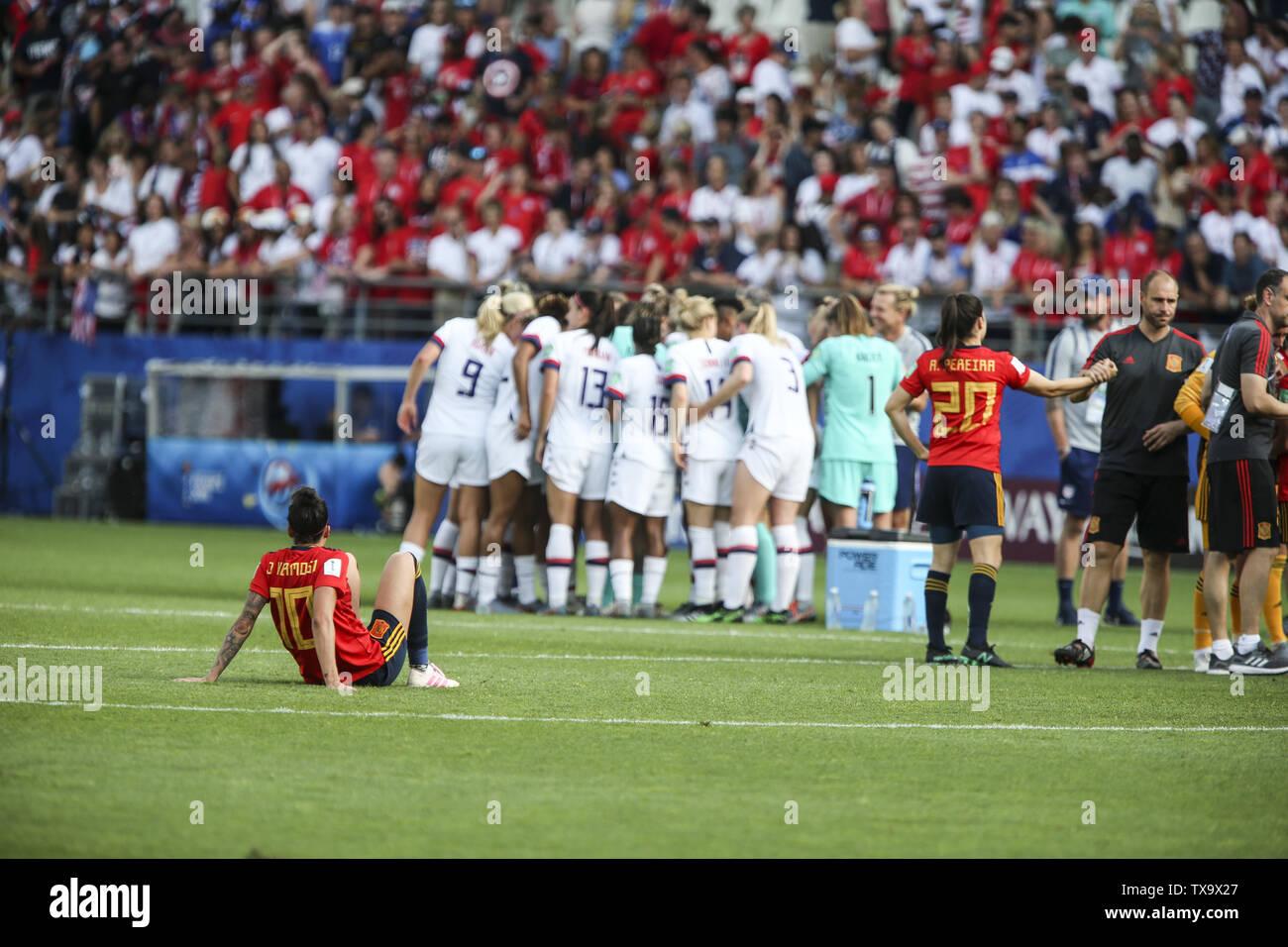 Junio 24, 2019 - Jennifer Hermoso, el partido final, en la Francia de 2019 Mujeres de la Copa del Mundo en octavos de final del partido de fútbol entre España y EE.UU., el 24 de junio de 2019, en el estadio Auguste-Delaune en Reims, en el norte de Francia. (Crédito de la Imagen: © Elyxandro CegarraZUMA Wire) Imagen De Stock