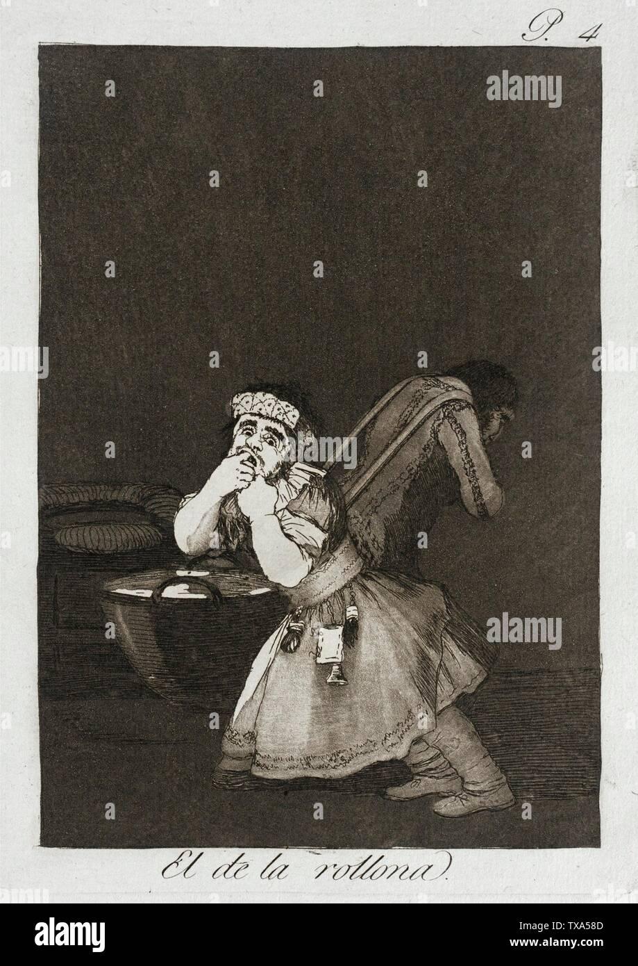"""""""Nanny's Boy; en inglés: España, 1799 título alternativo: el de la Rollona cartera: Los Caprichos, la placa 4 copias; grabados aguafuerte y aguatinta bruñida Paul Mabury Rodman Fondo Fiduciario (63.11.4) grabados y dibujos; QS 1799Fecha:P571,+1799-00-00T00:00:00Z/9; ' Imagen De Stock"""