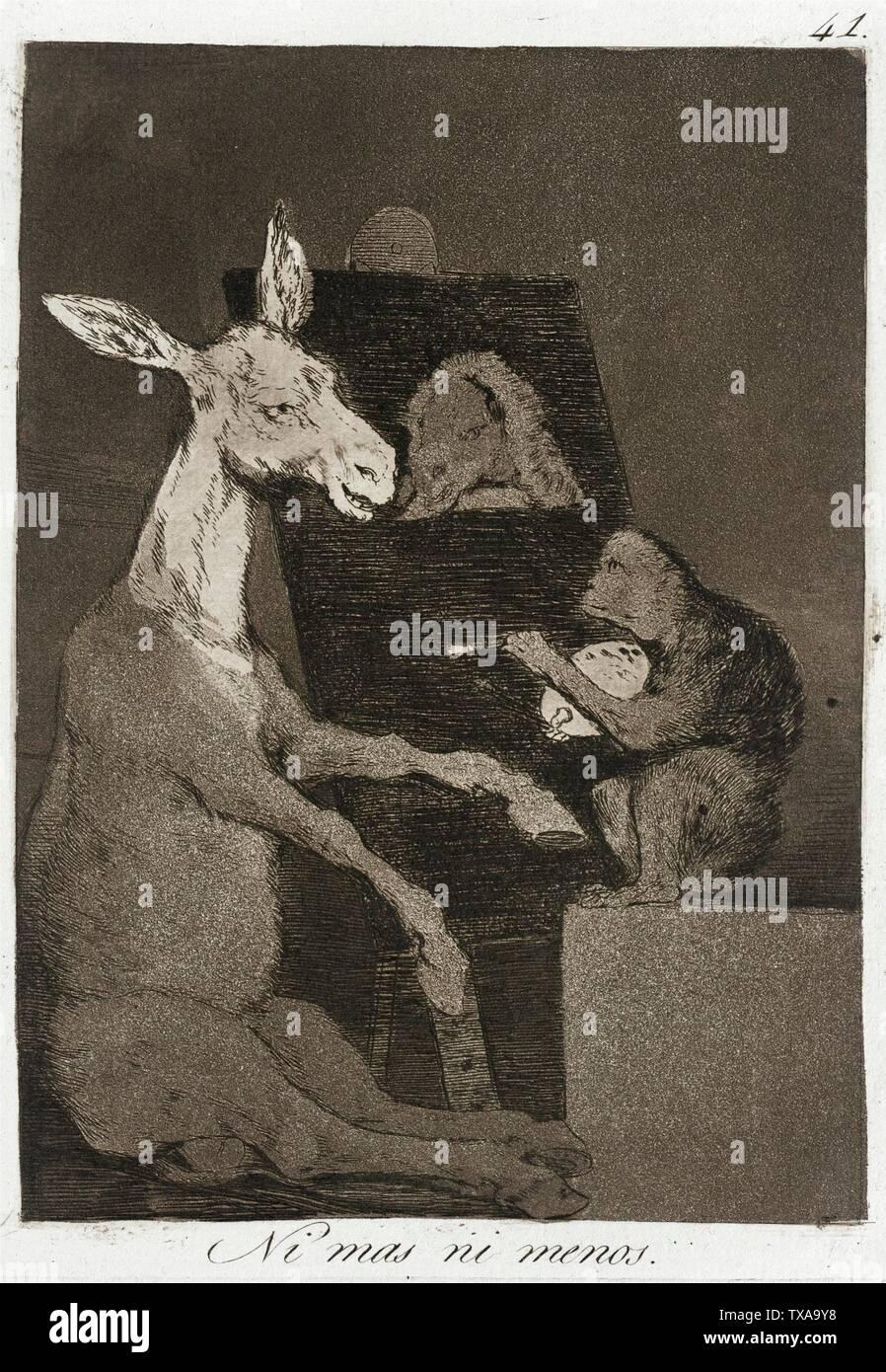 """""""Ni más ni menos; en inglés: España, 1799 título alternativo: ni más ni menos cartera: Los Caprichos, placa 41 copias; grabados Aguafuerte, Aguatinta bruñida, punta seca y buril Paul Mabury Rodman Fondo Fiduciario (63.11.41) grabados y dibujos; QS 1799Fecha:P571,+1799-00-00T00:00:00Z/9; ' Imagen De Stock"""