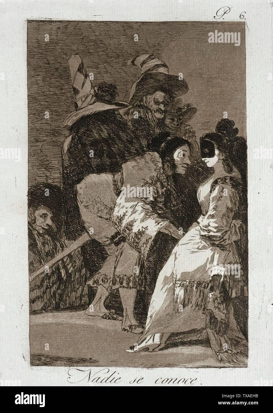 """""""Nadie se conoce a sí mismo; en inglés: España, 1799 título alternativo: Nadie se conoce cartera: Los Caprichos, la placa 6 copias; grabados aguafuerte y aguatinta bruñida Paul Mabury Rodman Fondo Fiduciario (63.11.6) grabados y dibujos; QS 1799Fecha:P571,+1799-00-00T00:00:00Z/9; ' Imagen De Stock"""