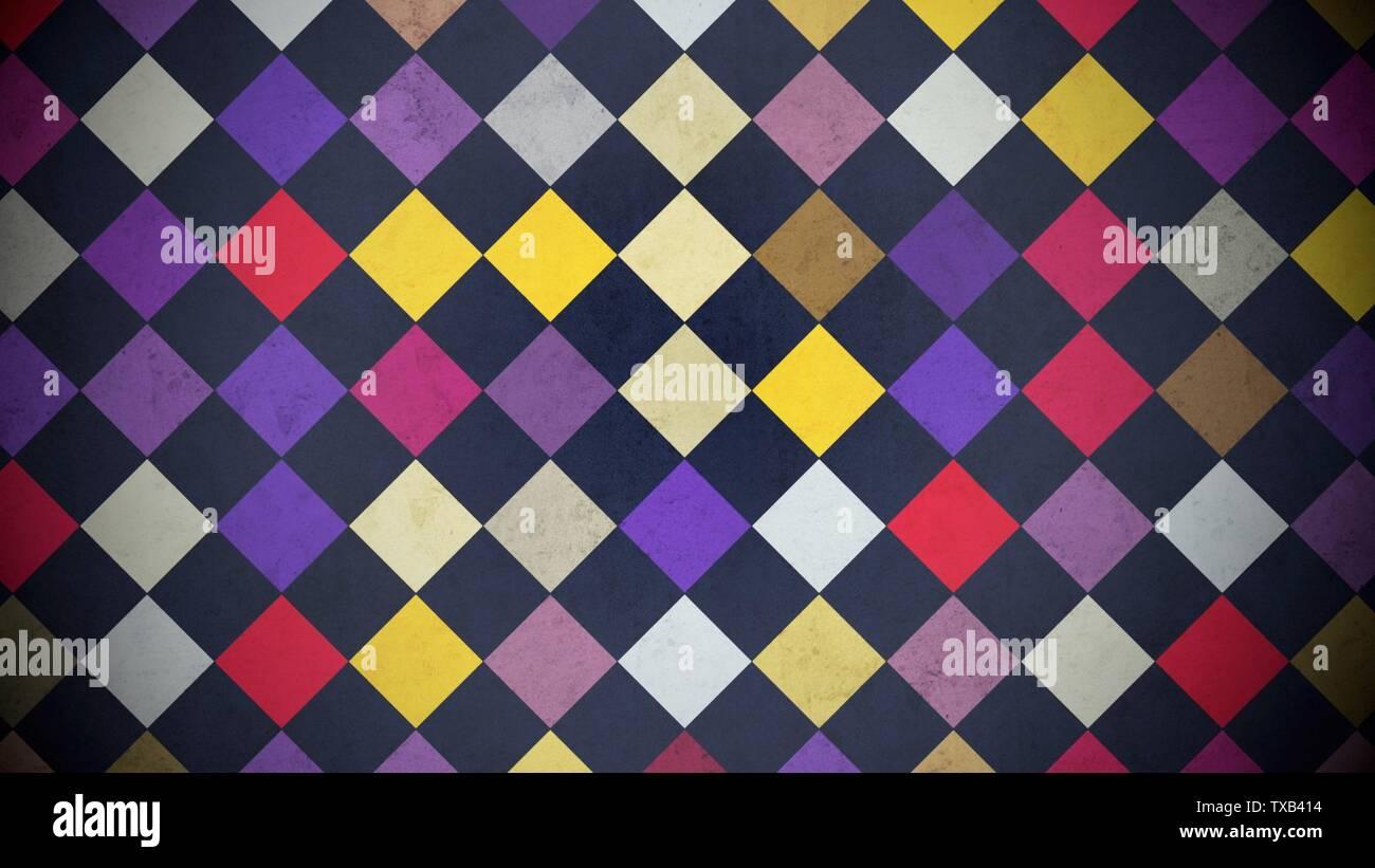 Cuadrados de colores, patrones de fondo abstracto. Elegante y lujoso hotel de estilo geométrico ilustración 3D Foto de stock