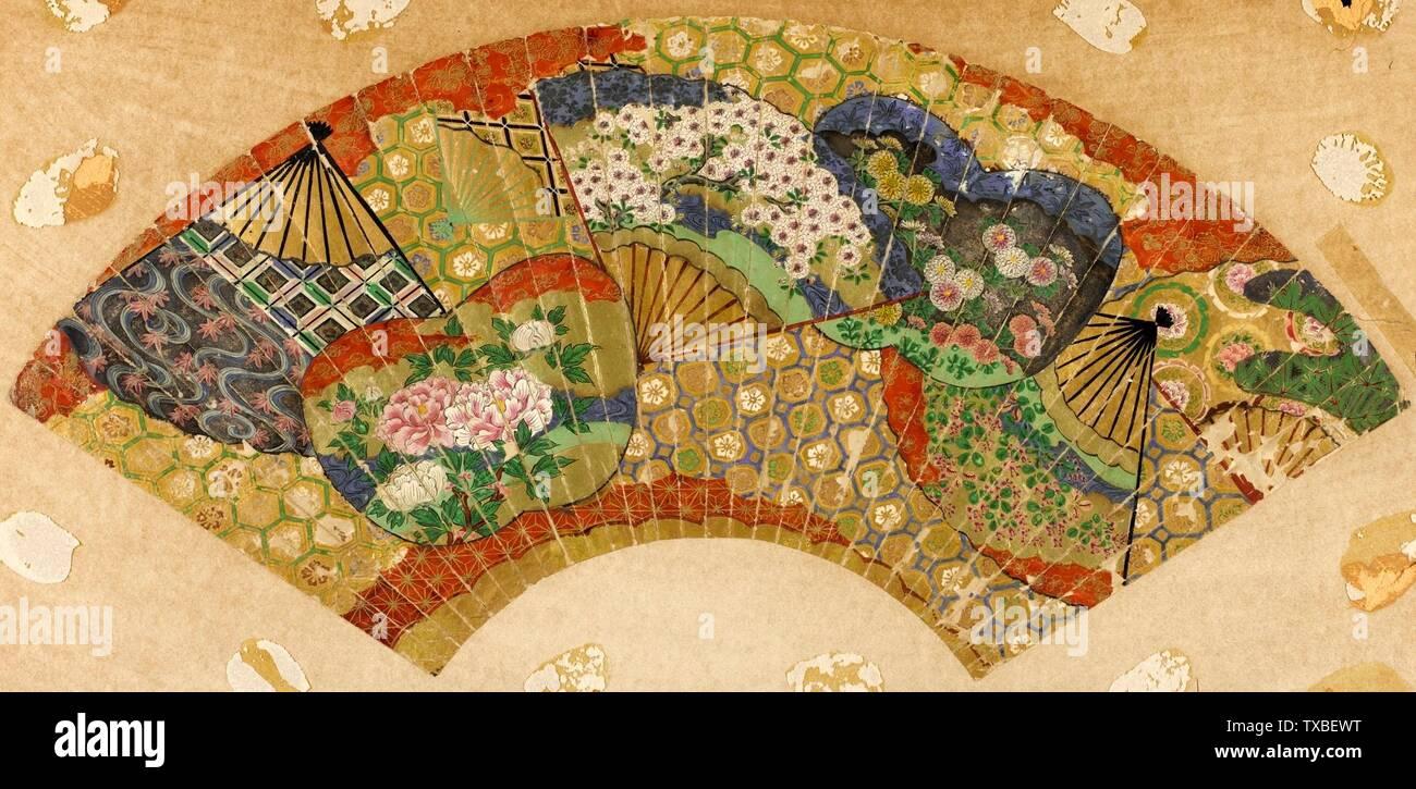 """""""Ventilador de rendimiento con diseño de ventiladores en el agua; en inglés: Japón, siglo xix imprime el ventilador, el color y el oro en papel Vista: 9 3/4 x 21 1/4 pulg. (24.77 x 53.98 cm); Marco: 20 1/2 x 26 1/2 pulg. (52.07 x 67.31 cm) de Regalo de George T. y Margaret W. Romani (M.2000.42.2) Arte Japonés; siglo xix fecha QS:P571,+1850-00-00T00:00:00Z/7; ' Imagen De Stock"""