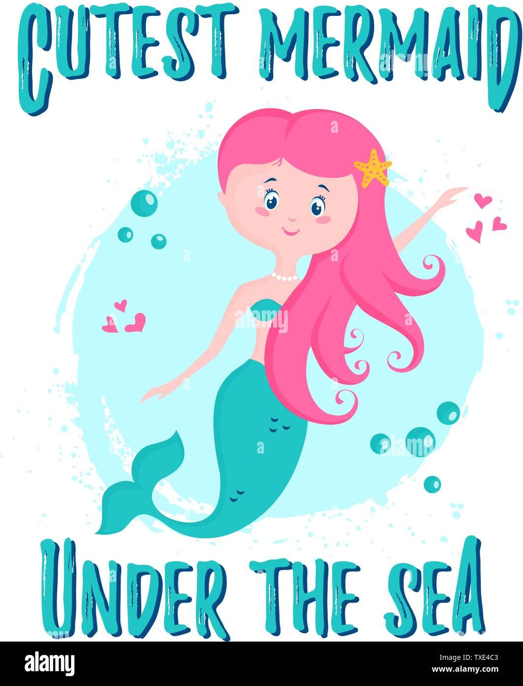 Ilustración Vectorial Con Lindo Y Frase De Sirena Sirena