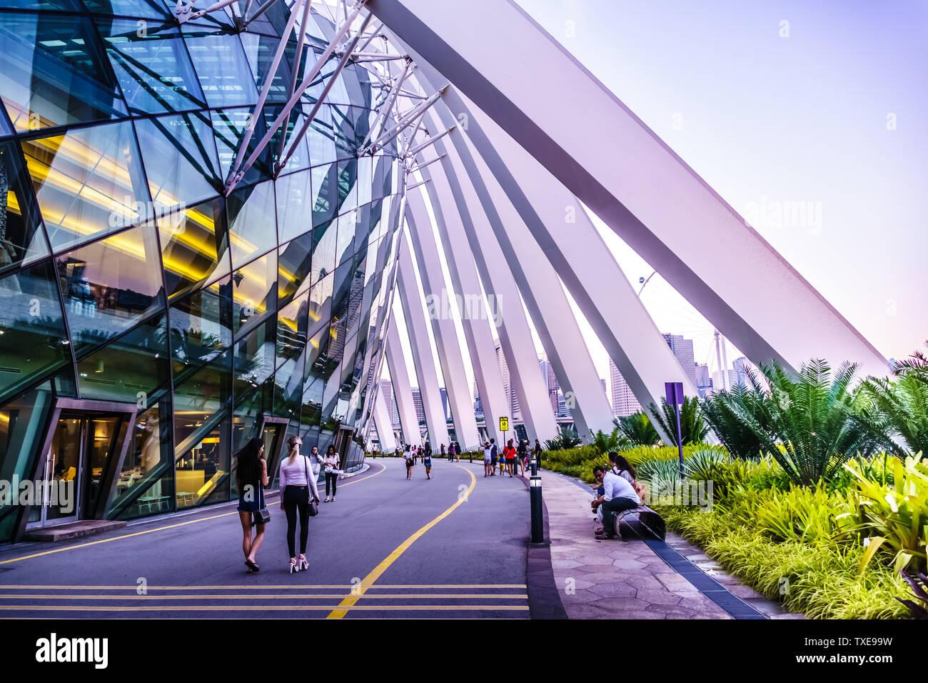 Singapur - Mar 15, 2019: los jardines junto a la bahía, las características de la arquitectura exterior de la cúpula del flujo. Foto de stock