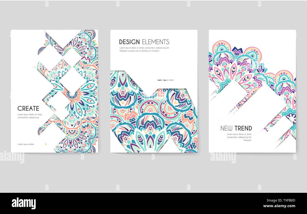 Banners Web Con Patrón Floral Psicodélico Juego De